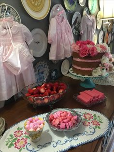 Tea party, baby shower, girly girl, girl baby shower, flowers, daisy, hankies, shabby chic party, shabby chic shower, tea set, tea cups, mix and match, eclectic, country chic, hanging dresses at baby shower, baby shower decor IG: ihavethecoolestgoatever
