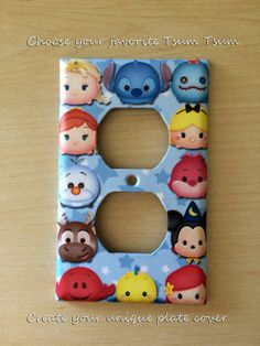 Choose your favorite Tsum Tsum and design a unique outlet cover Excellent room décor Great gift only $8.99 Order from my Etsy shop now www.etsy.com/shop/JTsGrotto