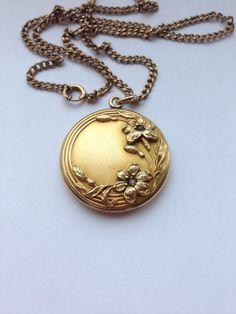 Antique Art Nouveau Round Locket, Raised Motif of Flowers with Rhinestones, H & H Locket, Gold Filled Locket Necklace