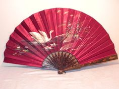 Antique Vintage Victorian Hand Painted Face Fan, 1910-20
