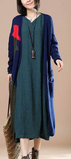 Navy patchwork long cardigans woman sweater coat
