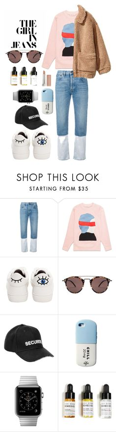 """""""Cozy in Jeans"""" by clementperkins ❤ liked on Polyvore featuring Ports 1961, H&M, Betsey Johnson, Oliver Peoples, Vetements, Bobbi Brown Cosmetics, Maybelline and teddybearcoats"""