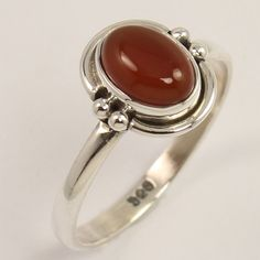 Natural CARNELIAN Cabochon Gemstone 925 Sterling Silver Jewellery Ring Size US 7…