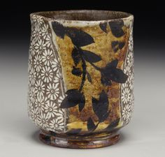 Michael Kline yunomi with brushwork Japanese Tea Ceremony, Truro, Chawan, Tea Bowls, Surface Design, Tea Cups, Candle Holders, Workshop, Clay