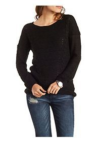 Pointelle & Cable Knit Tunic Sweater