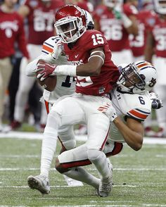 Oklahoma's Jeffery Mead (15) is brought down by Auburn's Carlton Davis (6) during the Allstate Sugar Bowl between the University of Oklahoma Sooners (OU) and the Auburn University Tigers at the Mercedes-Benz Superdome in New Orleans, Monday, Jan. 2, 2017.  Photo by Bryan Terry, The Oklahoman