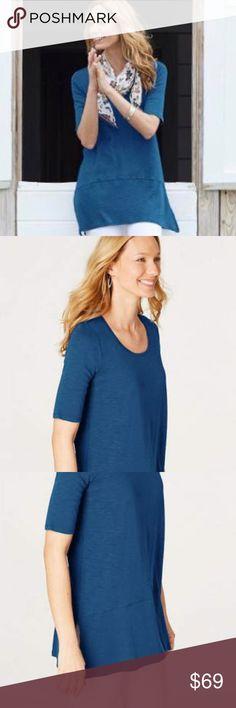 NEW J Jill 3X 4X Center Pleat Dress Knit Tank A-line Pockets Pima Cotton Blue
