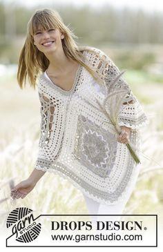 Midsummer Joy Poncho By  DROPS Design - Free Crochet Pattern - (garnstudio) ༺✿ƬⱤღ http://www.pinterest.com/teretegui/✿༻