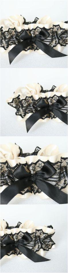 Custom Ivory and Black Lace Wedding Garter-by The Garter Girl