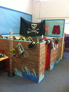 Pirate Ship role-play photo - love the wood grain detail Dramatic Play Area, Dramatic Play Centers, Pirate Day, Pirate Theme, Eyfs Classroom, Classroom Themes, School Displays, Classroom Displays, Role Play Areas Eyfs