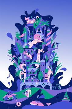 Lotte World Mall - Illustrations for summer campaign on Behance