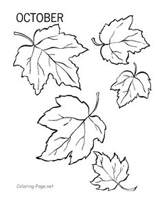 Fall coloring page - October leaves