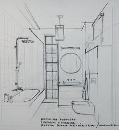 sketch of the bathroom
