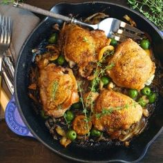 Braised Chicken Thighs with Lemon, Garlic and Olives