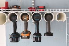 DIY power tool organizer to organize those tools in 2 hrs or less! Get some garage organization with this easy DIY project! DIY power tool organizer to organize those tools in 2 hrs or less! Get some garage organization with this easy DIY project! Power Tool Organizer, Power Tool Storage, Garage Tool Storage, Garage Tools, Shed Storage, Diy Storage, Power Tools, Storage Ideas, Garage Shop