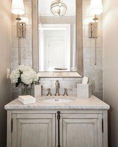 Such an elegant powder room! By Castlwood Custom Builders