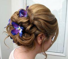 Wedding hair accessories Blue purple dendrobium orchid bobby pins set of 4 Bridal hair flowers
