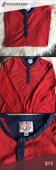 Lucky casual long sleeve shirt. Size large Lucky long sleeve top.  Orange/red color.  Blue denim detail around the collar and front.  💯 cotton.  Great for layering. Lucky Brand Shirts Tees - Long Sleeve