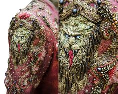 """From Michele Carragher: """"Cersei had a new kimono style costume and for this dress Michele Clapton wanted lions embroidered on the sleeves and wanted it to be bolder and more armour like. For this costume I embroidered stumpwork lions heads so they we particularly 3D and the decoration around was metallic and heavily encrusted with beads and metal rings."""""""