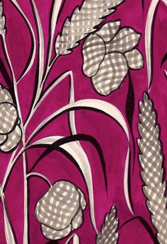 Pink Corn and Flowers in Decorative Pictures from Wilson Stephens & Jones Mid Twentieth Century French Gouache Textile designs by Louis Lang.