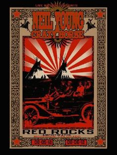 Original silkscreen concert poster for Neil Young at Red Rocks in 2012.  18 x 24 inches on card stock.  Hand-signed by artist Richard Biffle.