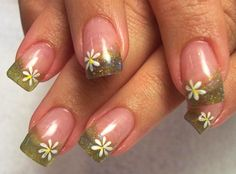 Springtime Glitter Nail Design - Don't know about the green tips,but the flower is nice.