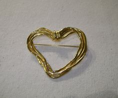 Open Heart Pin / Brooch Gold Tone Rope by vintagerepublic1 on Etsy, $13.00