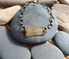 In this moment, take a deep breath and then another. Just be right here. Yes. :: be present . a hand stamped Soul Mantra bracelet