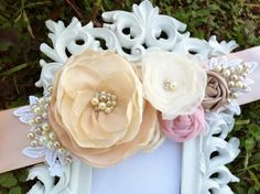 Kathryn... Bridal Sash in Champagne Ivory  by CherryBlosomBoutique, $98.95