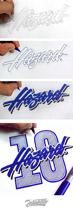 Hazard 10 handlettering by Typography Illustrations Types Of Lettering, Lettering Styles, Brush Lettering, Lettering Design, Logo Design, Design Art, Graffiti Drawing, Graffiti Lettering, Typography Letters