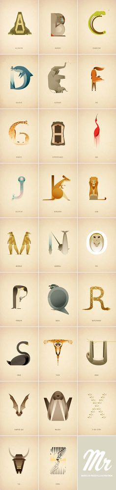 Animal Alphabet Marcus Reed, a London, United Kingdom based illustrator has created this lovely illustrated animal alphabet. Check out more information here. Find WATC on:Facebook I Twitter I Google+ I Pinterest I Flipboard I Instagram