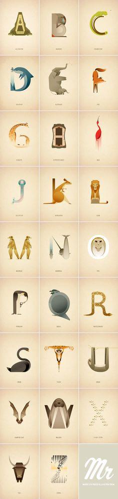 Animal Alphabet Marcus Reed, a London, United Kingdom based illustrator has created this lovely illustrated animal alphabet. Check out more information here. Find WATC on:FacebookITwitterIGoogle+IPinterestIFlipboardIInstagram