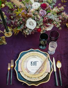 Gold + purple tablescape inspired by Prince