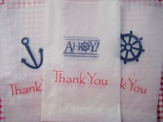 Ships Ahoy glassine bags, nautical thank you bags, party favors (red and navy set )