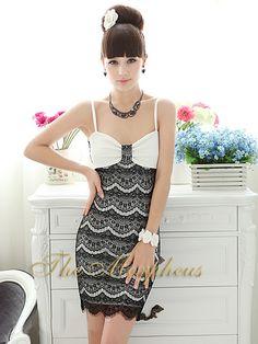 Morpheus Boutique  - Black Trendy Lace Layer Hemline Bow Strap Mini Dress