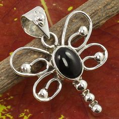 925 Sterling Silver Beautiful Pendant Real BLACK ONYX Gemstone ! Christmas Gift #Unbranded #Pendant
