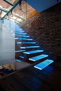 Corridor, hallway & stairs by KAISER Schody Sp. Glass Stairs Design, Home Stairs Design, Dream Home Design, Modern House Design, Stair Design, Architecture Design, Stairs Architecture, Futuristic Interior, Modern Stairs