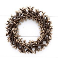 Rustic Wooden Branch Wreath - Fifty Fall Wreath Ideas & Inspiration For the Entire Autumn Season - bystephanielynn Fall Wreaths, Christmas Wreaths, Christmas Crafts, Christmas Decorations, Xmas, Stick Wreath, Grapevine Wreath, Autumnal Equinox Celebration, Natal Natural