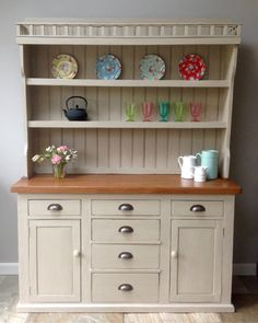 Antique Vintage 20th Century Country Dresser Hand Painted Annie Sloan Country Grey Solid Pine Freestanding Kitchen Unit Welsh Style by ClyneCoFurniture on Etsy