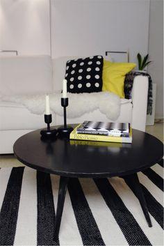 Yellow black white living room