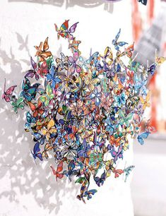 """Sometimes small hearts are better than big hearts. This mini sculpture is packed full of color and life.  Img. David Kracov """"MY HEART IS ALL A FLUTTER - MINI,"""" 3 Layer metal wall sculpture, 51x61x61 cm"""