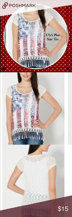 Americana Crochet Hem Slub Knit Top Peace, love and Americana! This fun and breezy  top comes in a lightweight slub knit with a soft sweater-y feel. In contrast, it features playful sublimation print American flag motif with a deep crochet fringed hem.  Body - 97% polyester, 3% spandex; Combo - 100% cotton Machine wash Model wears size Small Undergarment not included Tops Tees - Short Sleeve