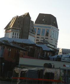 Tall inner city hotels on a clear lean post the February quake