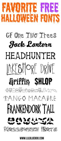 Favorite Free Halloween Fonts via lilblueboo.com  ~~ {11 free fonts w/ easy download links}
