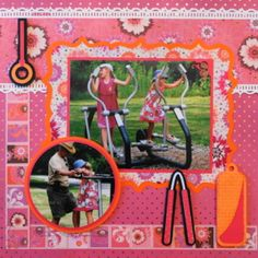 This is a child scrapbook page idea with a gymnastics theme. Get the Design Space link to make this page at my blog. The workout equipment is from CM Total Sports. Everyday Life Scrapbook 42 - Summer - Me and My Cricut