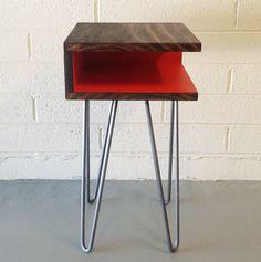 Mid-Century Modern Side Table Hairpin Legs Wood von CaseModern