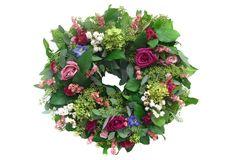 "20"" Roses & Hydrangea Wreath, Dried"