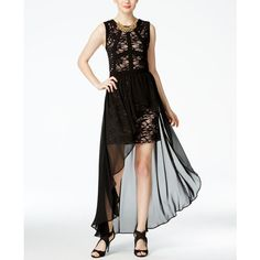 Morgan & Company Juniors' Lace Chiffon-Overlay Dress (€92) ❤ liked on Polyvore featuring dresses, long cocktail dresses, white lace dress, lace overlay cocktail dress, long dresses and white chiffon cocktail dress