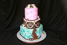 Pink, Blue And Brown Modern Mom Baby Shower Cake