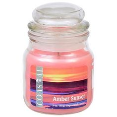 Coastal Amber Sunset Scented Jar Candle with Lid, 3 oz.